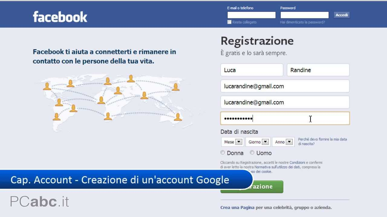 registrazione facebook come creare un nuovo account facebook corso su facebook 2 14 pcabc. Black Bedroom Furniture Sets. Home Design Ideas
