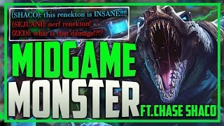 RANK #1 RENEKTON IS A MID GAME MONSTER FT. CHASE SHACO - LEAGUE OF LEGENDS SEASON 9 GAMEPLAY