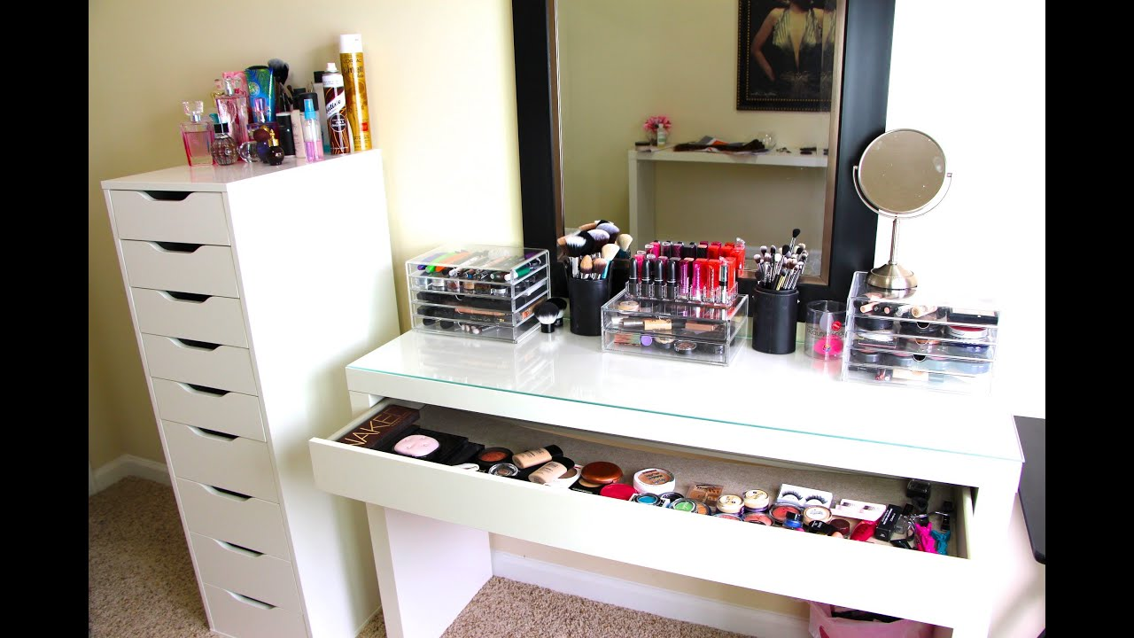 Makeup collection storage updated casey holmes youtube Makeup drawer organizer ikea