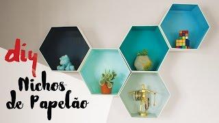 DESAFIO DIY - Nichos Hexagonais de Papelão por Isabelle Verona