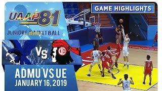 UAAP 81 Jrs Basketball: ADMU vs. UE | Game Highlights | January 16, 2019