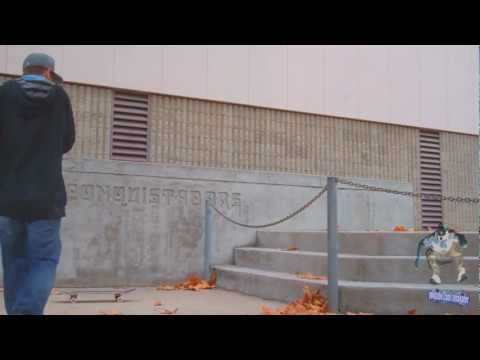 Switch varial heel flip over chain down stairs - Doug Des Autels