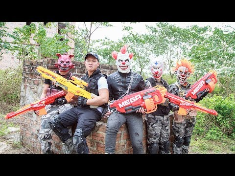 Special Police SWAT Warriors Use Skills Nerf Mod Fight Crime Group Mask Tiger Man Nerf War 2
