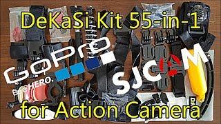 DeKaSi Accessories Kit Case 55-in-1 for Action Cam GoPro SJCAM Xiaomi Mi APEMAN   Unboxing & Test