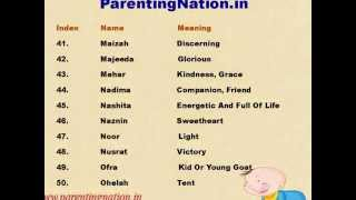 Muslim Baby Girl Names With Meanings