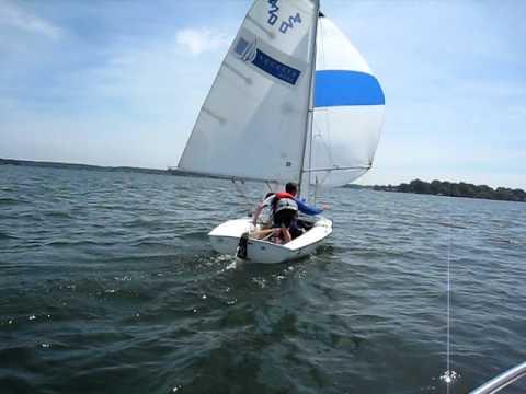 Spinnaker Set and Jibe on 420, Lake Norman, NCCSR Blythe Landing