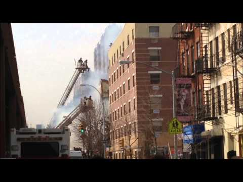 FDNY ON SCENE OF MAJOR 10-60 FATAL GAS EXPLOSION, FIRE & MAJOR 2 BUILDING COLLAPSE, IN HARLEM, NYC.