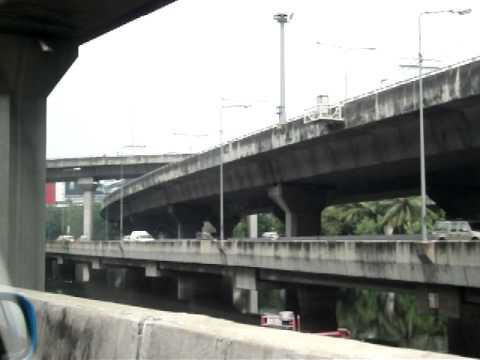 Overpass/underpass traffic jam in Bangkok, Thailand