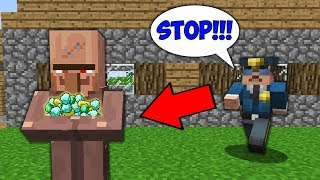 Minecraft NOOB vs PRO: WHY THISE CRAZY VILLAGER ROBBED THE WHOLE VILLAGE ? Challenge 100% trolling