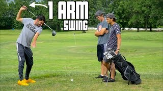 Playing Golf Using Only 1 Arm - Challenge