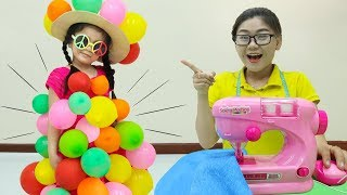 Suri Dress Up Pretend Play with Balloon Clothes & Toy Sewing Machine