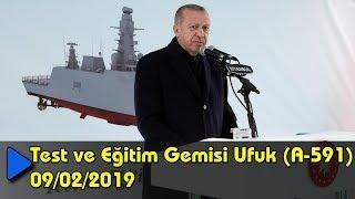 Cumhurbaşkanı Erdoğan, Test ve Eğitim Gemisi Ufuk (A-591) Denize İniş Töreni'nde konuştu. 09/02/2019