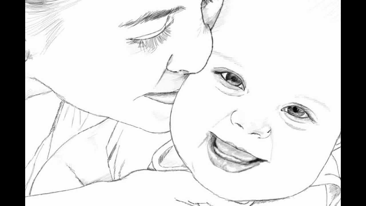 Mom Dad And Baby Drawing Mother And Baby Drawing