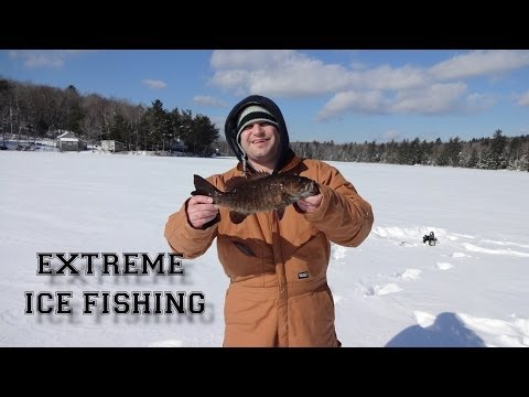ICE FISHING NEW HAMPSHIRE BASS PERCH PICKEREL FEB 2014
