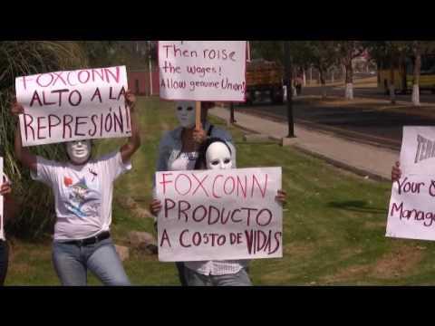 Protesta contra suicidios en Foxconn