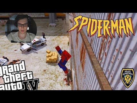 GTA IV Minecraft Spiderman LCPDFR Police Patrol - Spiderman Doesn't Know How to Swim!