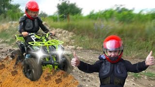Damian Pretend Play CAR WASH and Ride on Power Wheel Quad Bike Funny Childrens Video