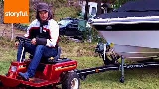 Lawnmower Attempts To Pull A Speedboat (Storyful, Crazy)