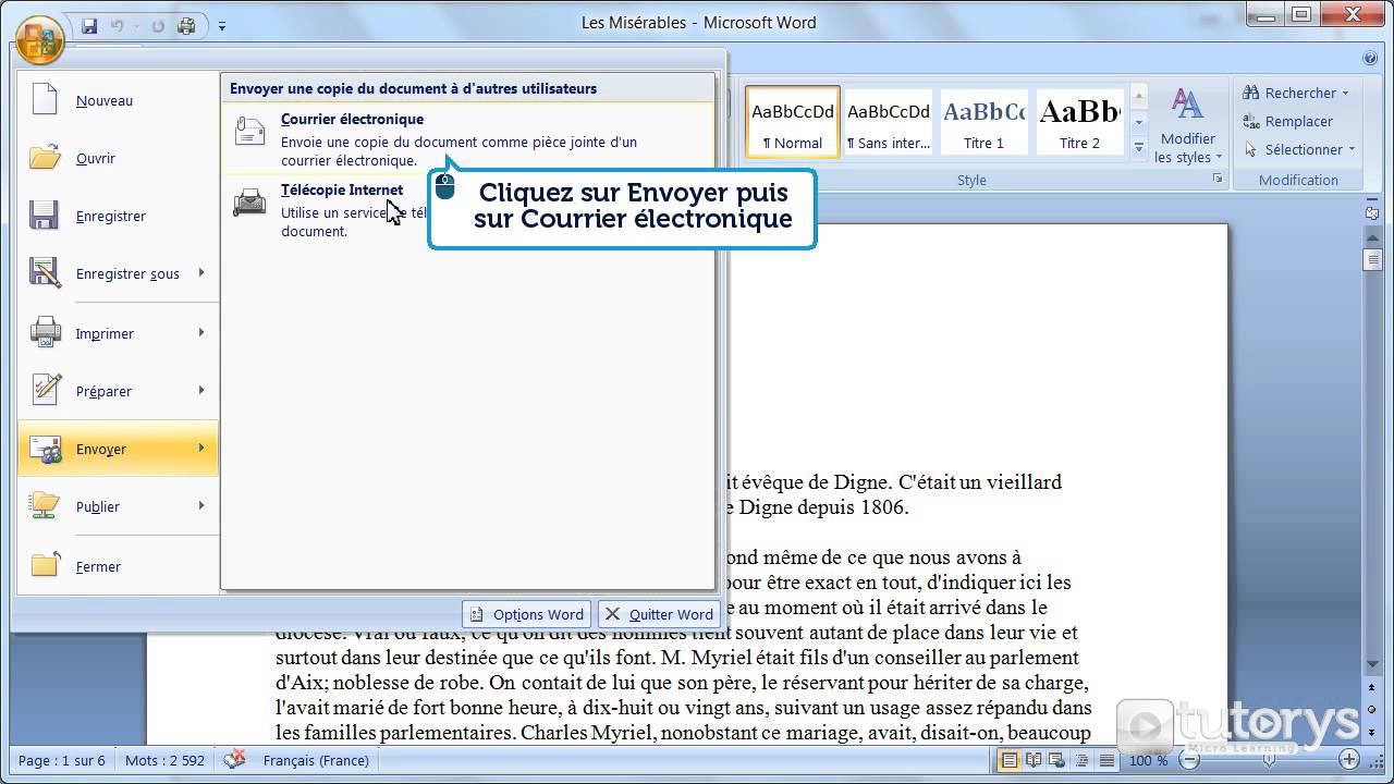 comment envoyer un document par email avec word 2007