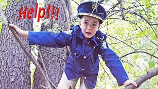 Who stole our police stuff? Silly funny cops Halloween kids video with epic mystery