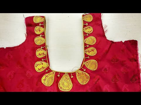 Design Blouse Back Neck Cutting and Stitching in Telugu with Patches and kundans