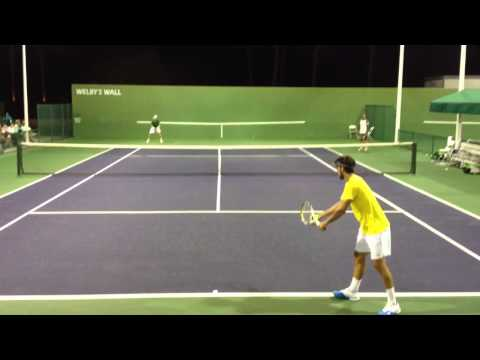 2013 Indian Wells - David Ferrer and Feliciano Lopez Practice Serve