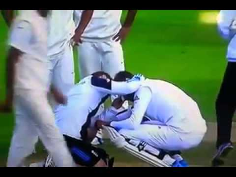 Stuart Broad hit by Varun Aaron