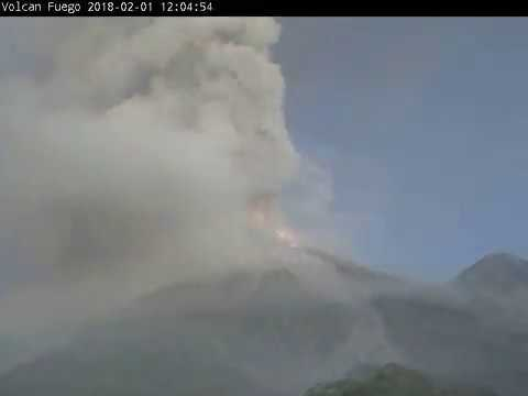 2018-02-01 morning time-lapse video of Fuego volcano, Guatemala