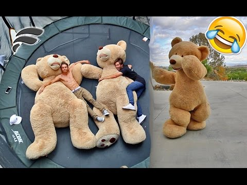 FUNNY TEDDY BEAR COSTUME (TRAMPOLINE TRICKS)