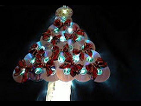 Como fazer  Árvore de Natal de CDs e  DVDs e uma  estrela feita com tampas de plástico