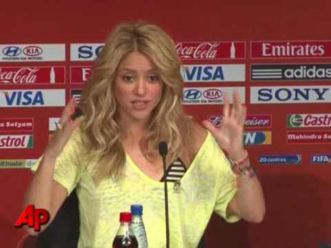 Raw Video: Singer Shakira Attends FIFA Briefing