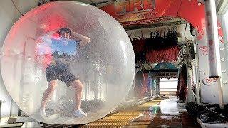 GIANT ZORB BALL vs CAR WASH!! (BAD IDEA)