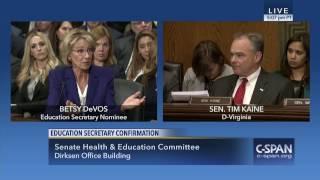 Betsy DeVos fails U.S. Senator Tim Kaine