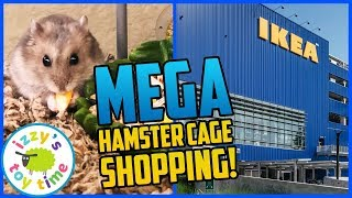 Shopping for a MEGA HAMSTER HABITAT! Izzy's Toy Time Adopted Hamster and Toys for Kids