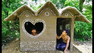 Build A Nice Mud House  In The Forest - Heart image window (use Mud and bamboo)