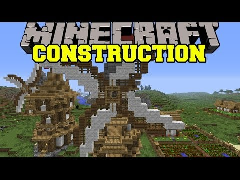 Minecraft: CONSTRUCTION MOD BUILD MASSIVE STRUCTURES AUTOMATICALLY Mod Showcase
