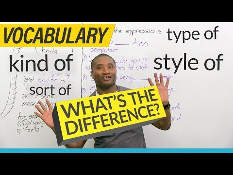 Learn English Vocabulary: kind of, sort of, type of, style of...
