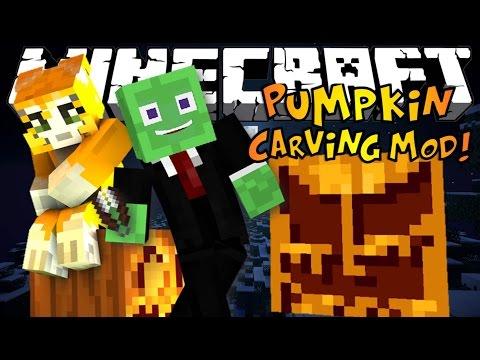 Minecraft: PUMPKIN CARVING MOD - Carve ANY Design! | Mod Showcase