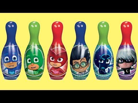 Disney Jr. PJ MASKS Bowling Game Set Ball Kinder Chocolate Egg Surprise Catboy Owlette Gekko / TUYC