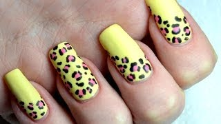 Summer Matte Leopard Print Easy Nail Art Tutorial