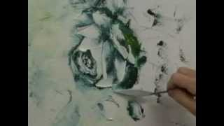 Oil Painting Technique: White Rose with pallet knife.