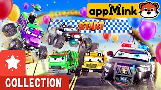 Giant Car Track Challenge  #appMink Kart Racing with Carrier Truck, Police Car, Helicopter