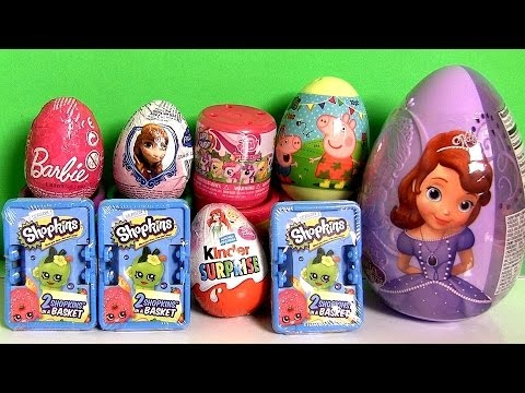 Peppa Pig Surprise Egg Shopkins Basket Kinder Princess Sofia the First Barbie Frozen Anna LittlePony Music Videos