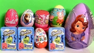 Huge Sofia First Toy Surprise Easter Eggs Peppa Shopkins Basket Barbie Frozen MyLittlePony Fashems
