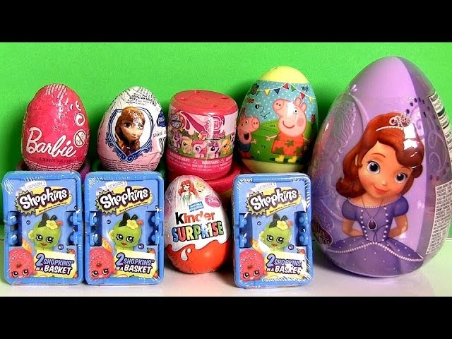 Peppa Pig Surprise Egg Shopkins Basket Kinder Princess Sofia the First Barbie Frozen Anna LittlePony