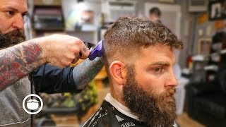 A Classic Fade with Dense Beard Shape Up | The Dapper Den Barbershop