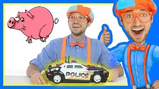 Learn to spell Police Car with Blippi Toys