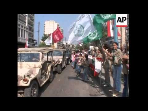 Lebanese troops in victory parade after three month battle nr Nahr el-Bared