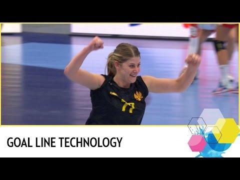 Mehmedovic scores with goal line technology   Montenegro vs Denmark   EHF EURO 2016