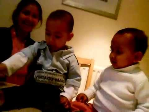 Cute Babies boy and girl Kissing Video